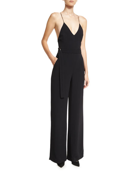 Zaylee D-Ring Belted Camisole Jumpsuit, Black