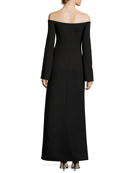 Katana Off-the-Shoulder Slit Maxi Dress, Black