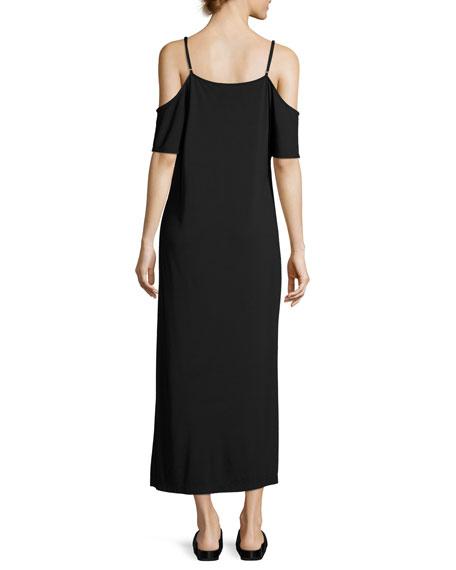 Luxe Ponte Cold-Shoulder Maxi Dress, Black