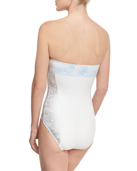 Floral-Print Bandeau One-Piece Swimsuit, White/Blue