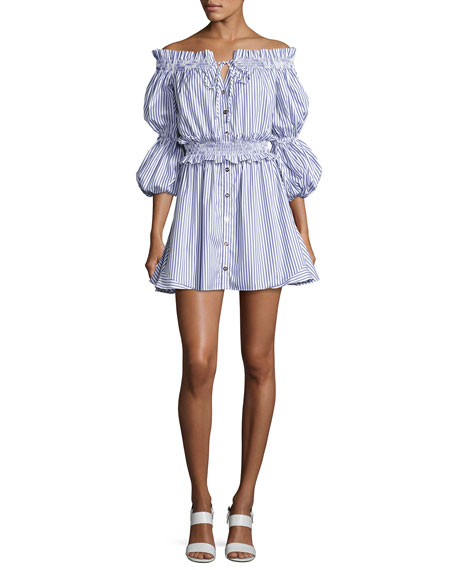 Caroline Constas Peasant Striped Off-the-Shoulder High-Low Dress,