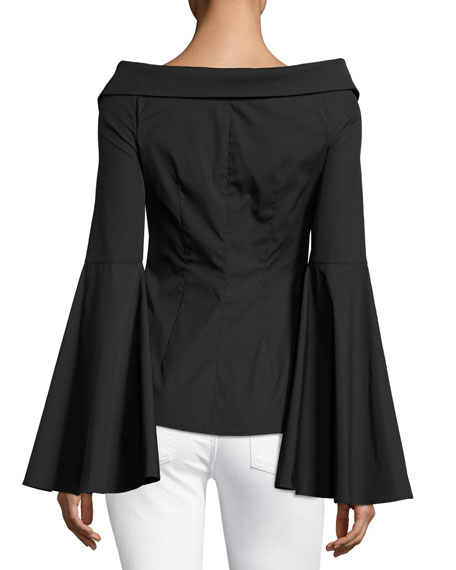 Persephone Décolleté Shirt, Black