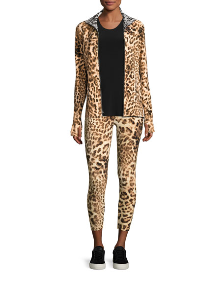 Cropped Leopard-Print Leggings, Multicolor Pattern