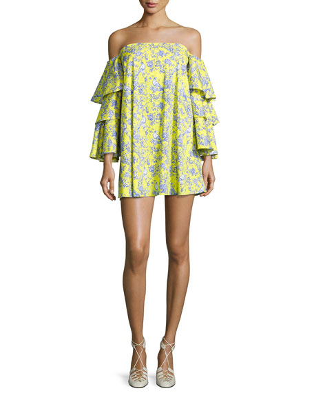 7922c3b2f7 Carmen Tiered Ruffle Sleeve Mini Dress Yellow Pattern