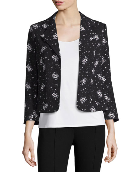 Stardust Onyx Button-Front Blazer, Black/Multi