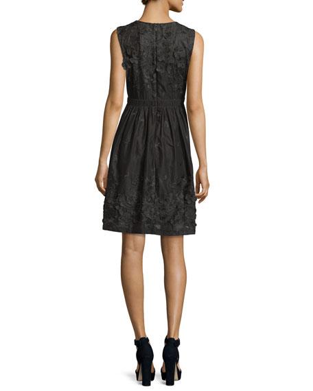 Kia Sleeveless Organdy Dress w/ Floral Appliqué