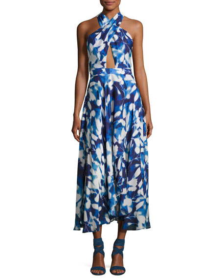 Silk Chiffon Petal Midi Dress, Blue