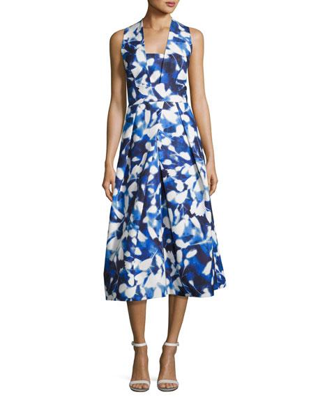 Elisa Pleated Floral Faille Midi Dress, Blue