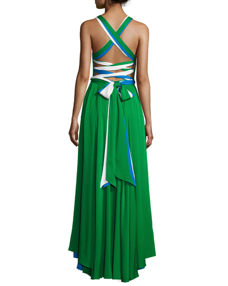 Daphne Sleeveless Stretch Silk Gown, Multicolor