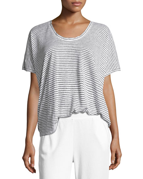 Short-Sleeve Striped Linen Tee, White/Black