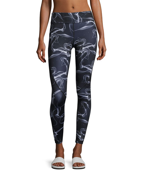 Alala Captain Smoke-Print Ankle Tights, Black Pattern