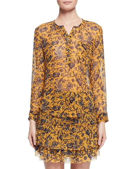 Boden Floral-Print Silk Blouse