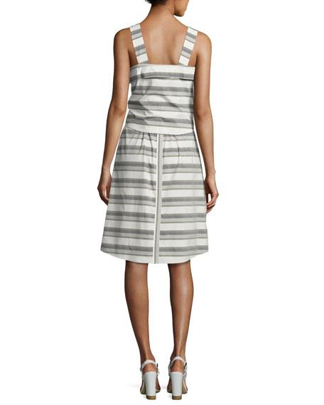 Sleeveless Striped Tie-Front Poplin Dress, White
