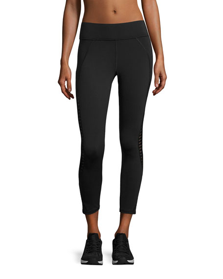 Medusa Stripe Crop Performance Legging, Black