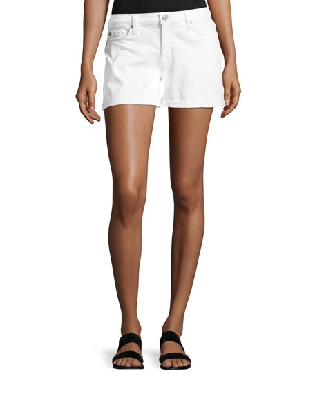 Image 1 of 1: Asha Mid-Rise Cuffed Denim Shorts, White