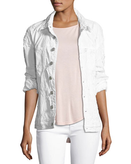 Emmet Long-Sleeve Destroyed Boyfriend Jacket, White