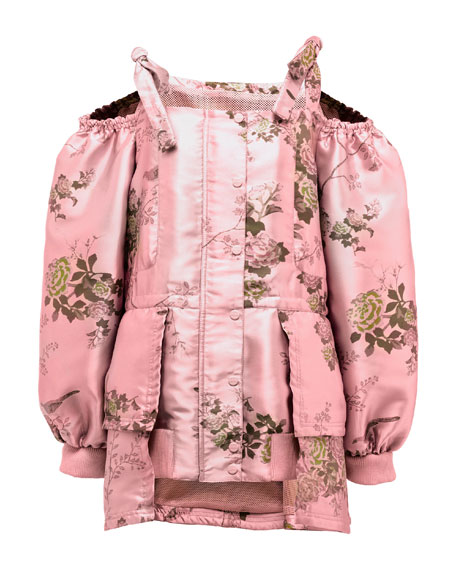 Floral Cold-Shoulder Peplum Coat, Pink