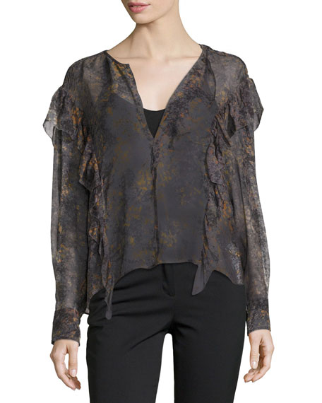 Etoile Isabel Marant Jelby Printed Cotton Ruffle-Front Blouse