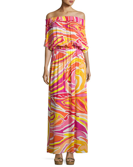 f6706b36400 Emilio Pucci Lance Printed Off-the-Shoulder Maxi Dress