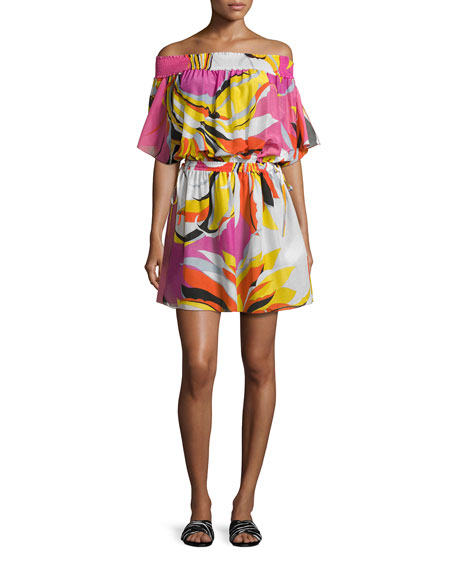 Emilio Pucci Fiore Maya Printed Off-the-Shoulder Coverup Dress,