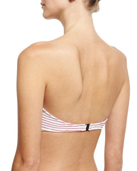 Maya Pique Underwire Bandeau Swim Top, Red/White