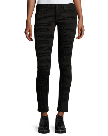Marilyn Distressed Skinny Jeans, Black