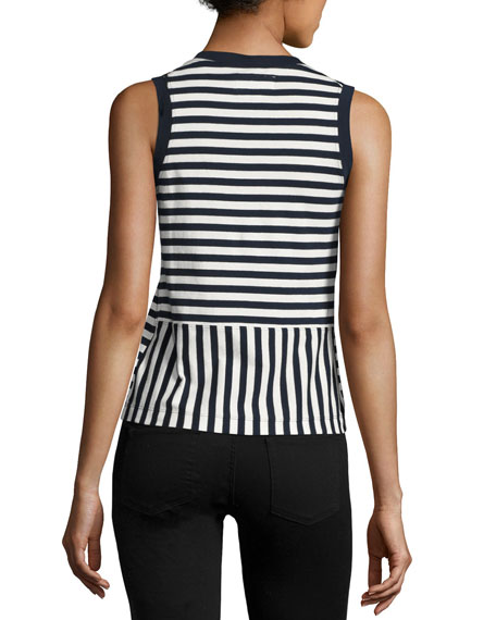 Striped Crewneck Tank Top, Black/White