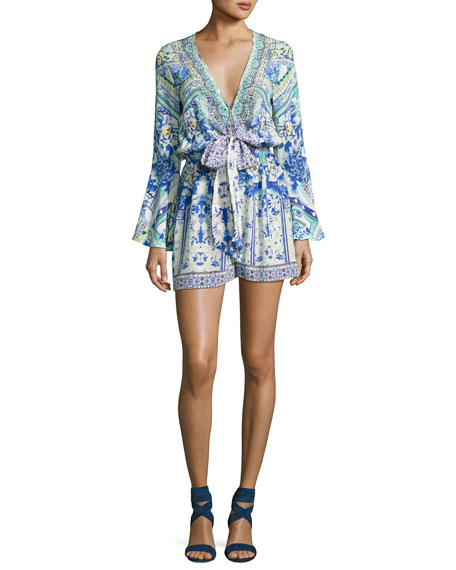 Wide Sleeve Tie-Front Playsuit, Multicolor