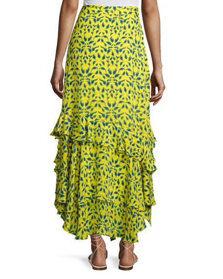 Rita Ruffled Silk Skirt, Yellow