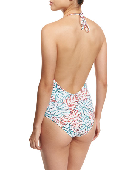 Nina Leaf-Print One-Piece Halter Swimsuit, Blue