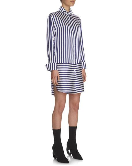Combo-Striped Sateen Shirtdress, Indigo