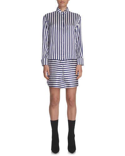 Combo-Striped Sateen Shirtdress, Indigo