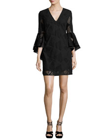 74dff78d Milly Nicole Bell-Sleeve Embroidered Cotton Shift Dress, Black