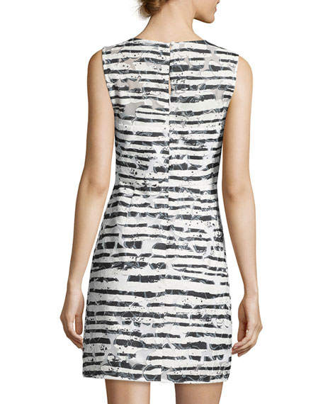 Nina Sleeveless Floral Striped Burnout Dress, Black