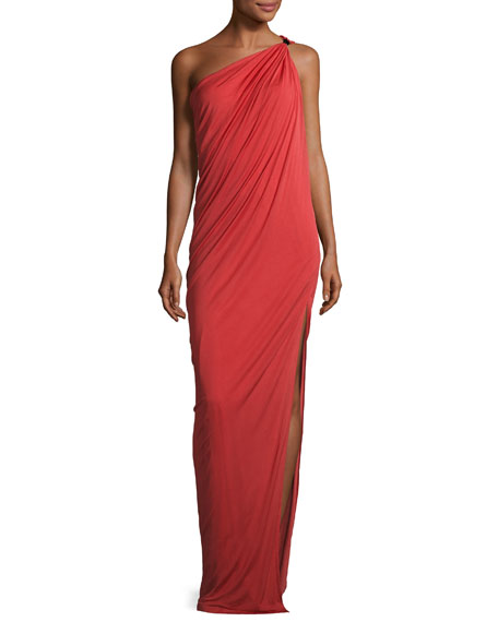 Halston Heritage Draped One-Shoulder Gown, Chili