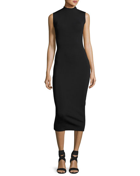Solace London Alexis Sleeveless Open-Back Midi Dress, Black