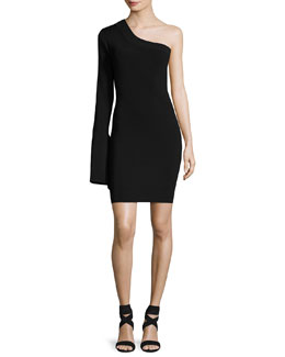 Danica One-Shoulder Ponte Mini Dress, Black
