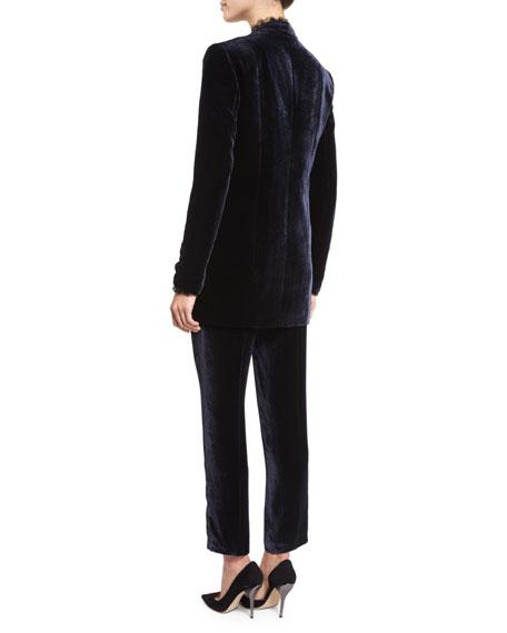 Antoinette Long High-Sheen Blazer Jacket