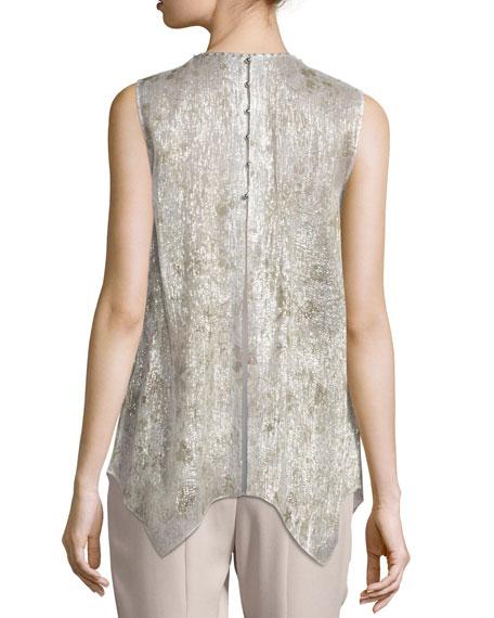 Elle Sleeveless Metallic Silk-Blend Blouse