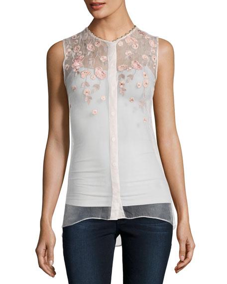 Camila Sleeveless Embroidered Sheer Silk Blouse, White