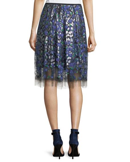 Nicolette Layered Floral Appliqué Skirt