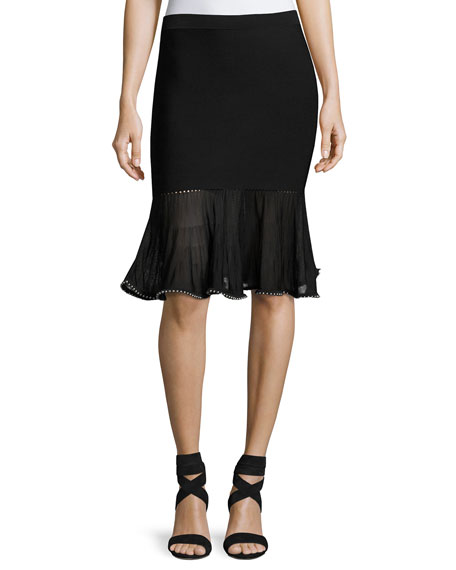 Alexander Wang Flounce Skirt with Ball Chain Hem,