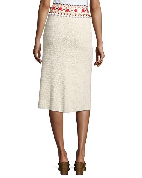Embellished Linen Pencil Skirt, Beige