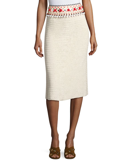 Embellished Linen Pencil Skirt, Beige