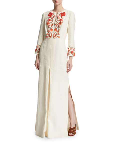 Tory Burch Embroidered Long-Sleeve Linen Gown, Ivory