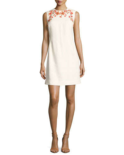 Embellished Sleeveless Shift Dress, Ivory