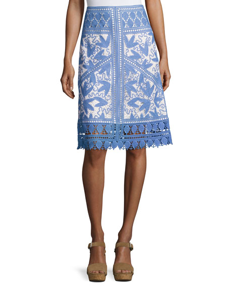 Embroidered Macrame A-Line Skirt, Gray