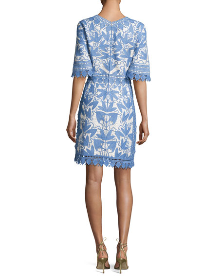 Embroidered Macrame Half-Sleeve Dress, Gray