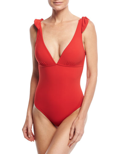 Barcelona V-Neck One-Piece Swimsuit With Low Back