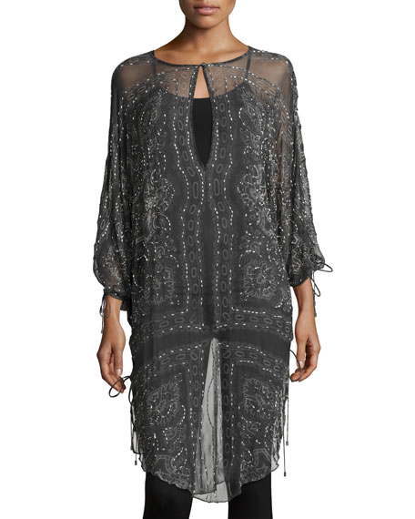 Haute Hippie The Rhiannon Silk Embellished Tunic, Gray